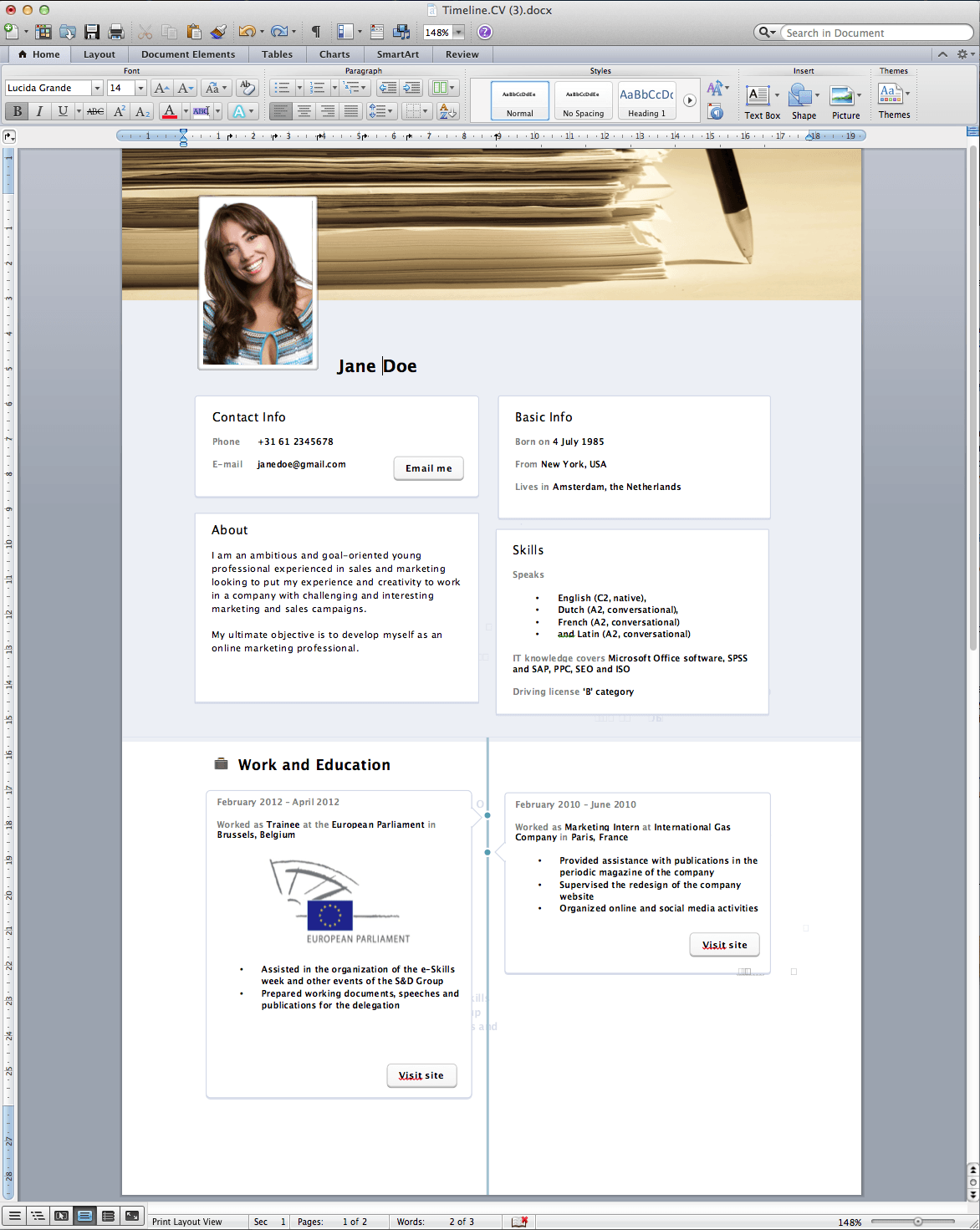 facebook timeline resume template word free rogier trimpe - How To Use Resume Template In Word